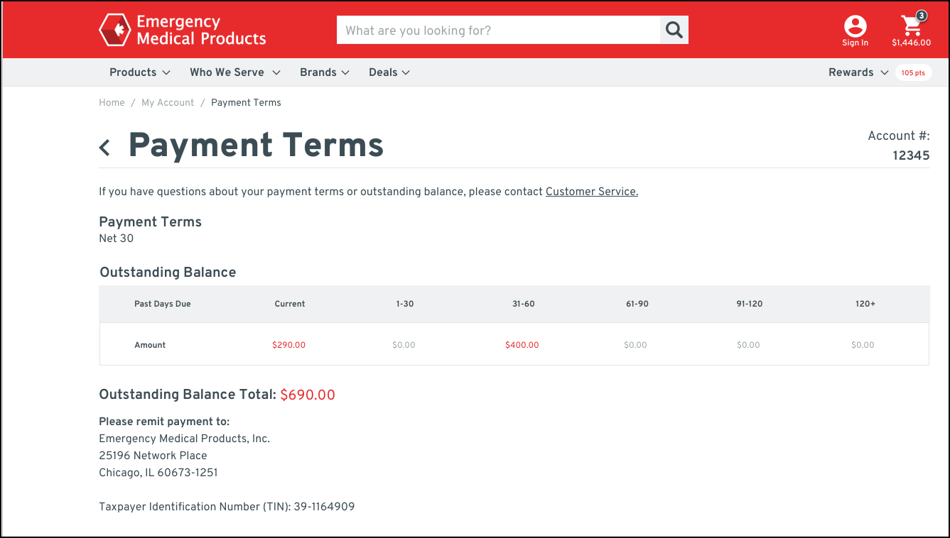 Screenshot of Payment Terms page